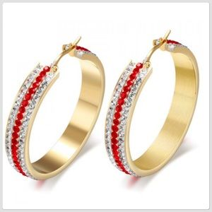 NWT Bring On The Holidays Red/ White Crystal Hoops